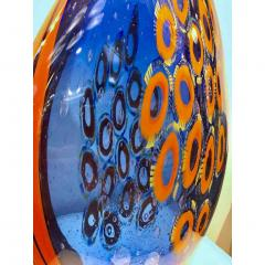 Davide Dona Dona Modern Art Glass Blue and Orange Sculpture Vase with Red and Yellow Murrine - 1064605