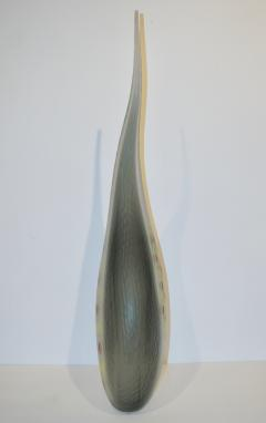 Davide Dona Dona Modern Art Glass Smoked Gray Sculptural Vase with Red and Yellow Murrine - 1111965