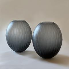 Davide Dona Late 20th Century Pair of Sculptural Gray Murano Glass Vases - 1984739