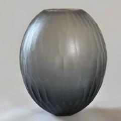 Davide Dona Late 20th Century Pair of Sculptural Gray Murano Glass Vases - 1984742