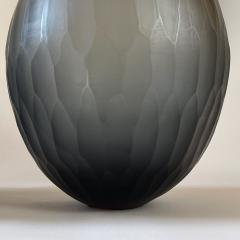 Davide Dona Late 20th Century Pair of Sculptural Gray Murano Glass Vases - 1984745