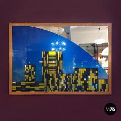Decorative big mirror representing Manhattan 1980s - 1945587