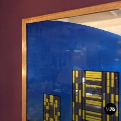 Decorative big mirror representing Manhattan 1980s - 1945591