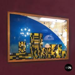 Decorative big mirror representing Manhattan 1980s - 1945592