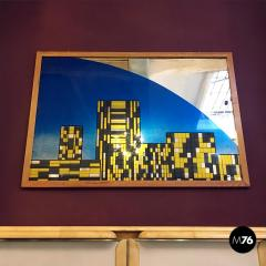Decorative big mirror representing Manhattan 1980s - 1945593