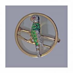 Demantoid Diamond and Ruby Parrot Pin C 1920 - 331090