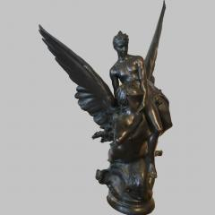 Denys Pierre Puech A Fine Large Patinated Bronze Group Sculpture Entitled La Sirene - 1467943