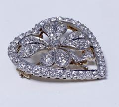 Diamond Clover Heart Brooch Pendant Platinum and 18K C 1930 - 2066055