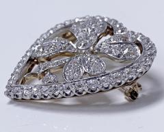 Diamond Clover Heart Brooch Pendant Platinum and 18K C 1930 - 2066056
