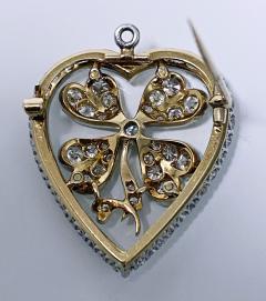 Diamond Clover Heart Brooch Pendant Platinum and 18K C 1930 - 2066057