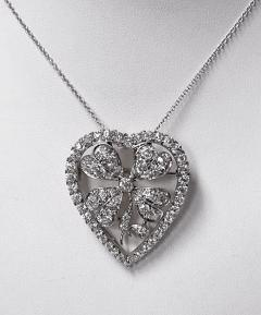Diamond Clover Heart Brooch Pendant Platinum and 18K C 1930 - 2066058