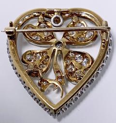 Diamond Clover Heart Brooch Pendant Platinum and 18K C 1930 - 2066059