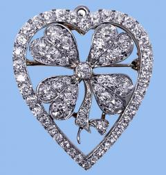 Diamond Clover Heart Brooch Pendant Platinum and 18K C 1930 - 2066060