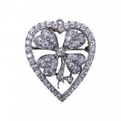 Diamond Clover Heart Brooch Pendant Platinum and 18K C 1930 - 2069010