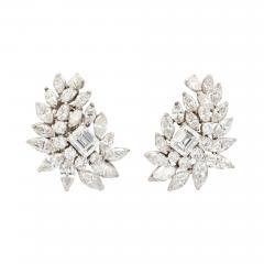 Diamond Cluster Earrings in Platinum - 1369423
