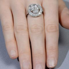 Diamond Cluster Platinum Ring Size 7 - 1953787