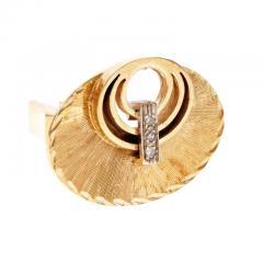 Diamond Gold Oval Textured Cufflinks - 389494