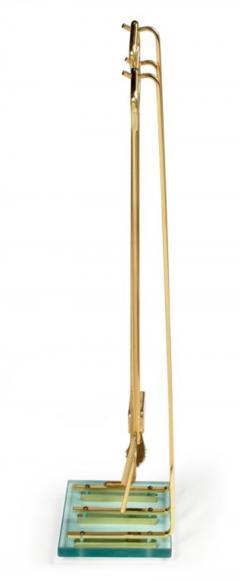 Diamond Handle Brass Fireplace Tool Set - 775690