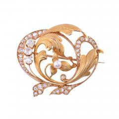 Diamond Pearl 18K Gold Brooch - 1953776