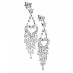 Diamond White Gold Dangle Chandelier Earrings - 389337