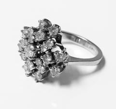 Diamond and Gold cluster Ring 1960s - 1124535