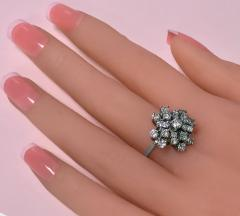 Diamond and Gold cluster Ring 1960s - 1124540