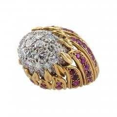 Diamond and Ruby Gold Flame Cocktail Ring - 198943