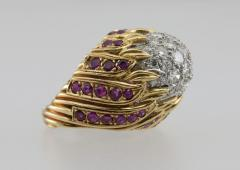 Diamond and Ruby Gold Flame Cocktail Ring - 198945