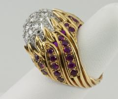Diamond and Ruby Gold Flame Cocktail Ring - 198946