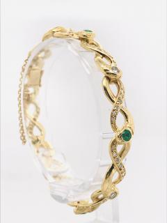 Diamonds and Emerald Yellow Golg 18 K Retro Bracelet - 1242801