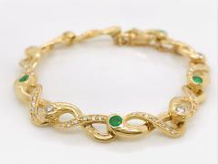 Diamonds and Emerald Yellow Golg 18 K Retro Bracelet - 1242802