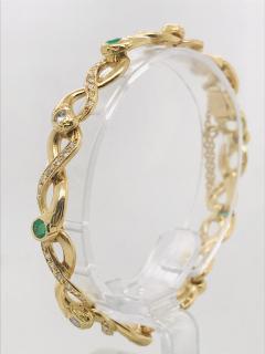 Diamonds and Emerald Yellow Golg 18 K Retro Bracelet - 1242803