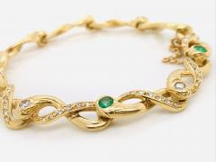 Diamonds and Emerald Yellow Golg 18 K Retro Bracelet - 1242805
