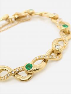 Diamonds and Emerald Yellow Golg 18 K Retro Bracelet - 1242807