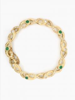 Diamonds and Emerald Yellow Golg 18 K Retro Bracelet - 1242808