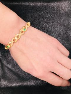 Diamonds and Emerald Yellow Golg 18 K Retro Bracelet - 1242809