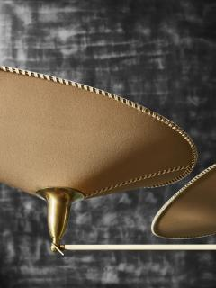 Diego Mardegan Oval Brass and Parchment Chandelier by Diego Mardegan for Glustin Luminaires - 1663874