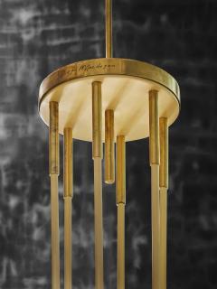 Diego Mardegan Oval Brass and Parchment Chandelier by Diego Mardegan for Glustin Luminaires - 1663875