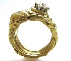 Dimaond and Gold Solitare RIng - 44037
