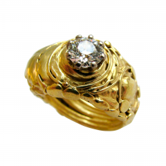Dimaond and Gold Solitare RIng - 44104