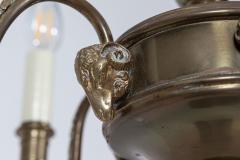 Diminutive English Rams Head Brass 5 arm Chandelier - 2052200