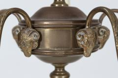 Diminutive English Rams Head Brass 5 arm Chandelier - 2052202
