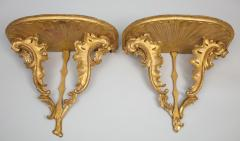 Diminutive pair of gilded wall console tables with faux marble tops - 1372745