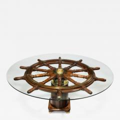 Dining table made from a 19th Century ships steering wheel - 900185