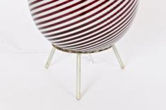 Dino Martens Dino Martens for Aureliano Toso Cranberry Twist Table Lamp on Tripod Base - 1583119