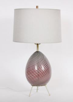 Dino Martens Dino Martens for Aureliano Toso Cranberry Twist Table Lamp on Tripod Base - 1583120
