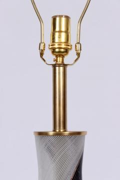 Dino Martens Dino Martens for Aureliano Toso Murano Glass Table Lamp in Black White Copper - 1616109