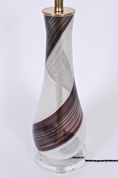 Dino Martens Dino Martens for Aureliano Toso Murano Glass Table Lamp in Black White Copper - 1616112
