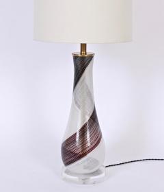 Dino Martens Dino Martens for Aureliano Toso Murano Glass Table Lamp in Black White Copper - 1616127