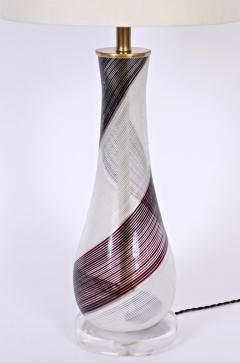 Dino Martens Dino Martens for Aureliano Toso Murano Glass Table Lamp in Black White Copper - 1616128